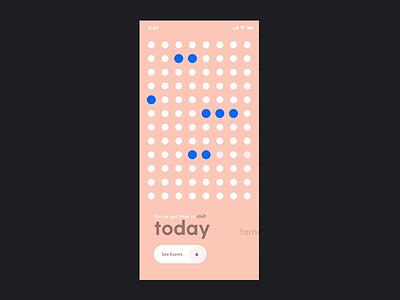 Min Cal events minimal tomorrow today pink calendar grid dots