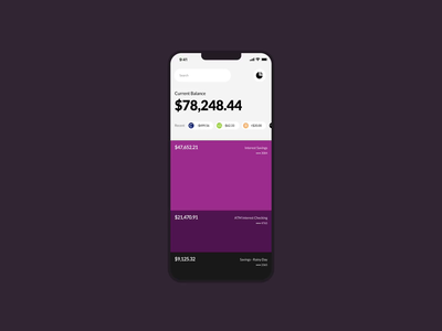 Full Width or Cards? interface savings transactions minimal accounts banking money ui cards ui overview bank full width cards