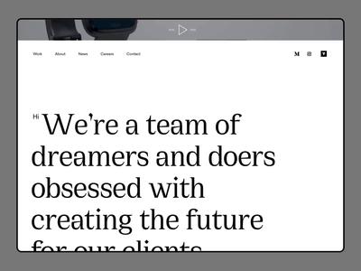 Homepage Prototype - Visual Identity - Concept studies flinto clean typography web interface minimal agency website black and white prototype serif type brand