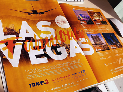 Fabulously Las Vegas illustrator photoshop overlay text bleed graphic design product plane orange advert double page spread las vegas