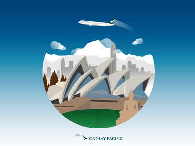 The Life Well Travelled with Cathay Pacific travel plane print graphic design gradients city vector illustration