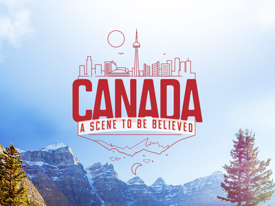 Travel 2 - Canada web graphic landscape online print campaign lockup mountains city type vector canada