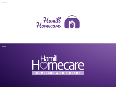 Hamill Homecare Rebrand illustrator vector business homecare heart purple logo branding rebrand