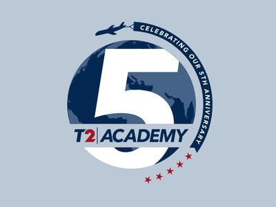 Travel 2 - T2 Academy Anniversary brand logo design graphic vector world learning blue 5 travel anniversary branding logo