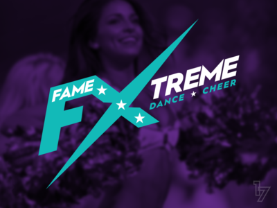 Fame Xtreme Dance & Cheer purple teal cheer dance typography logotype logo lettering identity branding
