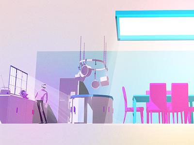 G3 Architecture Kitchen home environment transform kitchen animation artdirection design wip