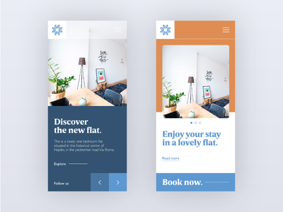 Mobile ui for a guest house website.