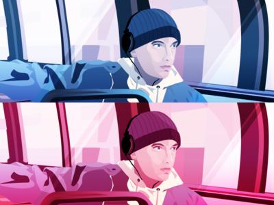 Eminem retrowave retro design rap hiphop illustration