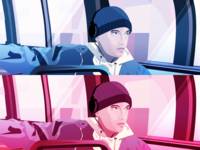 Eminem retrowave retro design rap hiphop illustration