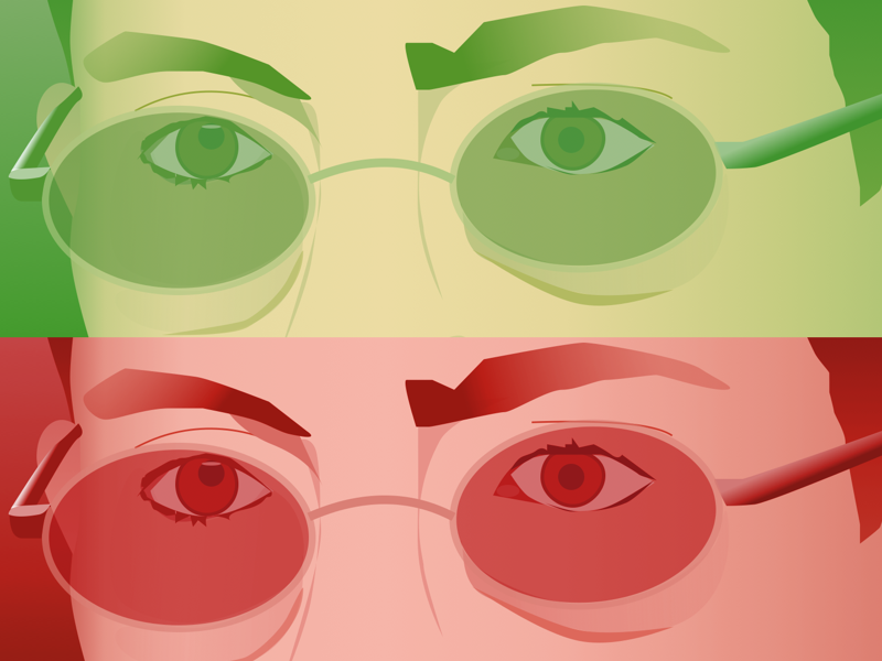 Glasses Illustration realism overlay red green illustration glasses