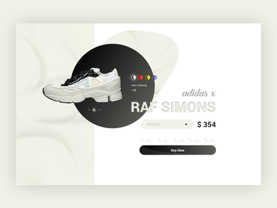 UI Raf Simons x Adidas Concept colorway call to action price product card product interface ui shoes raf simons fashion