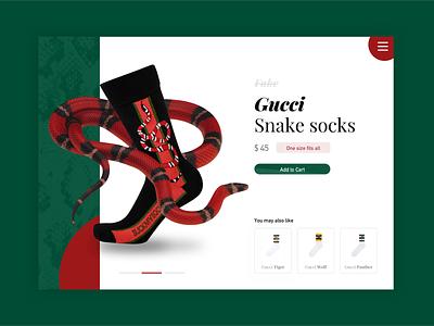 Gucci Socks Product Card UI interface menu snake socks cart product card ui product fashion gucci fake