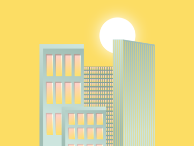 Buildings cityscape building ilustration yellow green sun retro