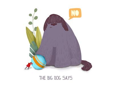 The Big Dog Says - Illustration texture summer puppy ball art animal game malipix branding illustration dog