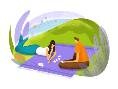 Sunday vacation summer playing picnic people malipix leisure illustration friends drawing characters