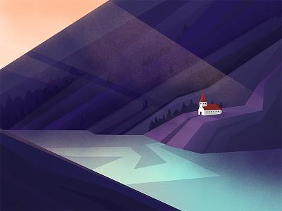 The Purple View 2d dawn forest landscape lonely mountain nature malipix illustration view house purple