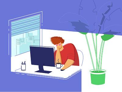 Time To Work love coffee office enamored freelance purple malipix workplace work illustration character