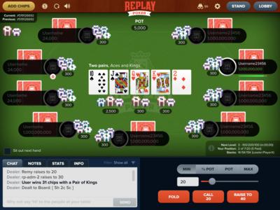 Replay Poker table design design app game ui bet poker