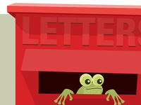 Frog in a letterbox