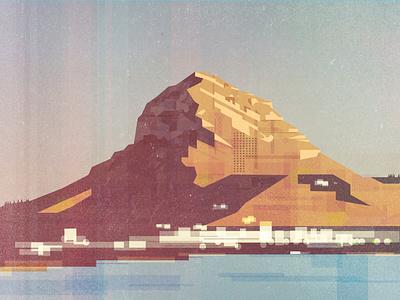 Montgó Massif and Javea Port illustration javea montgo españa sea illustration spain mountain