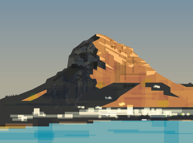 Montgó Massif and Javea Port illustration javea montgo españa sea illustration spain mountain