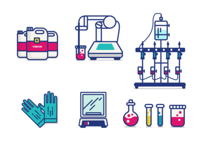 Lab Equipment machine tissue ph balance glassware jar gloves testtube lab illustration