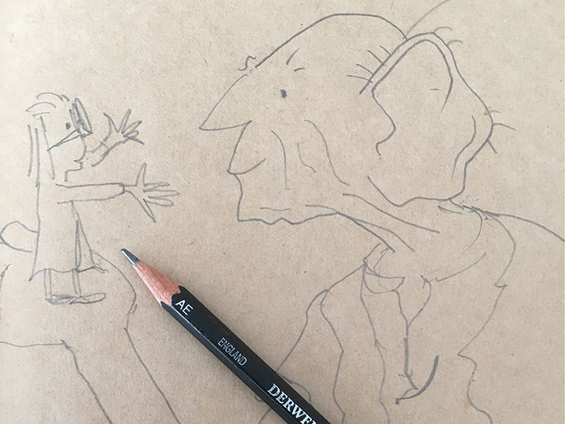 Just testing to see if I can still sketch like Quentin Blake. giant friendly big pencil sketch blake quentin bfg