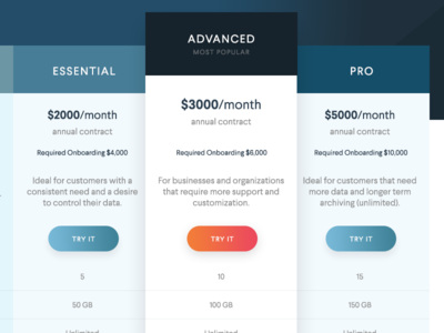 Pricing table ui cta try table page pricing price