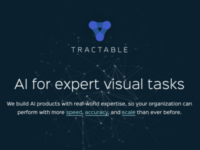 Tractable website home logo ui nodes brand homepage website ai