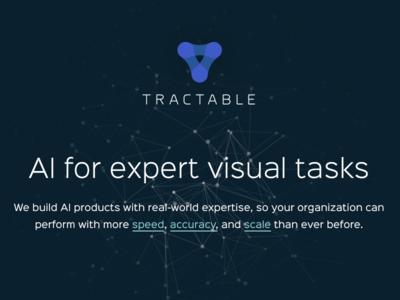 Tractable website home logo ui nodes brand homepage website ai