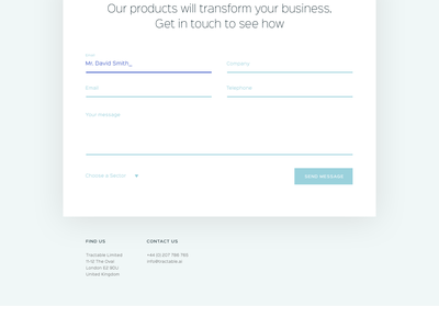 Tractable Contact page form contact ui ai