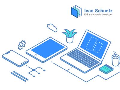 Mobile developer hero illustration desk pencil notebook macbook x iphone illustration mobile