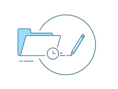 Early Case Assessment illustration pencil time folder files
