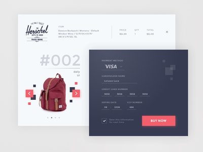 Daily UI #002 - Check Out visa ui design herschel check out interface form element day002 dailyui daily100