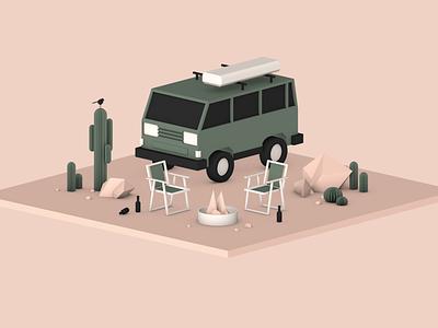 Desert Camp Scene graphic isometric cinema 4d illustration