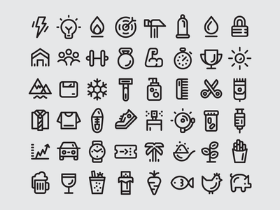 Icon Font design minimal flat clean simple iconset set font icons icon