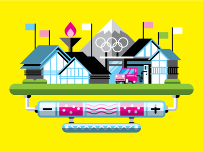PopSci: Hydrogen Village illustration vector hydrogen village japan olympics