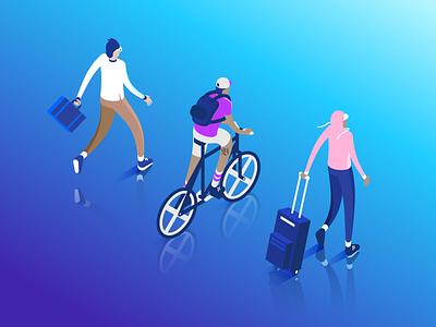 BounceX characters creativecloud adobeillustrator vector vectorart marketingcloud cycling travel cloud tech characterdesign illustration isometric