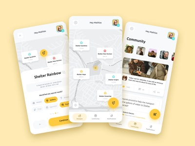 Homeless Help Concept App community light mobile design user experience ux ui user interface panhandler beggar care street concept yellow minimalist android app interface compassion homeless
