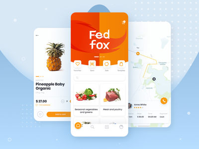 Fed Fox - Food Delivery Service calatog product map mobile delivery ui food android ios