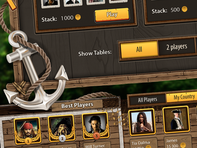 Tortuga - another peace of design anchor table pirate ui mobile design cards android ios game unity