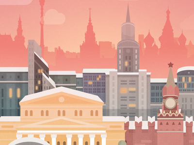 Moscow - illustration for the game unity skyline moscow mobile ios illustration game russia city android