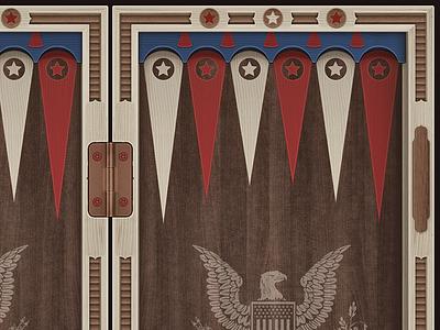 America - backgammon desk unity mobile android ios illustration game backgammon desk us usa america