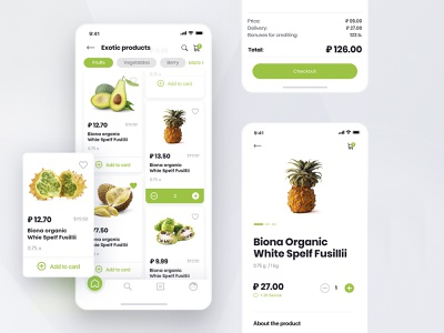 E-commerce app for the grocery shop ui design mobile ios ecommerce app