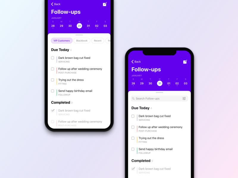 Follow-ups Design Concept ui today clienteling follow ups event purple app design calendar apple ios