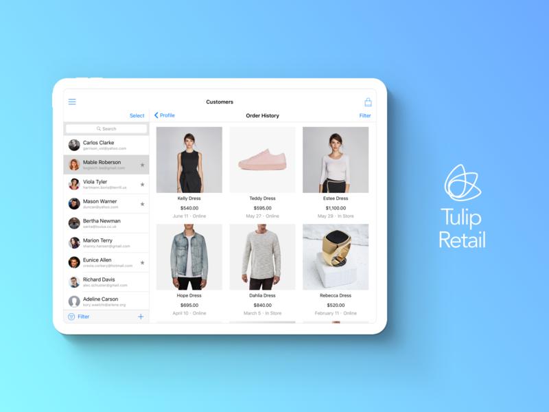 Customer's Order History Design in store shopping app shopping clienteling blue ui catalog design app ios