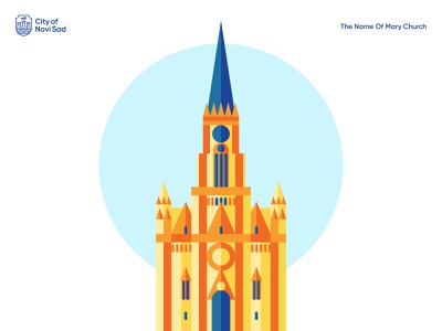 The Name Of Mary Church color contrast novi sad cathedral curch vector branding design illustration