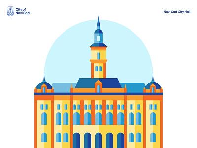City Hall color contrast city hall novi sad branding vector design illustration
