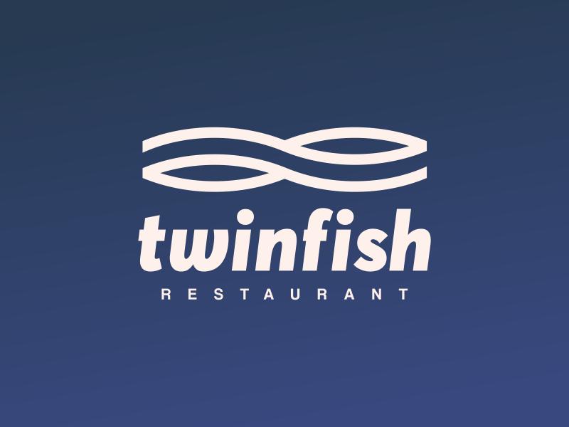 Twinfish Restaurant fish restaurant twinfish logo design