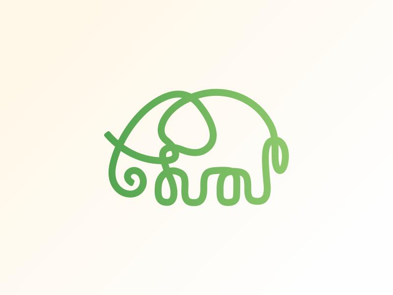 Elephant green elephant oneline logo design